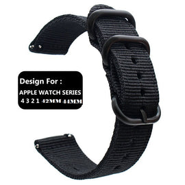 Apple Watch Band Women Men Nylon NATO Matte Buckle Adapters Sport Series (4 3 2 1) (42mm , 44mm) black