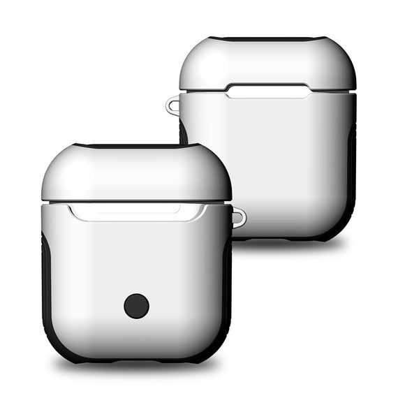 Apple Airpods Case Cover, Matte Finish 2 in 1 Protective Cover Shockproof Design (WHITE)