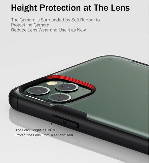 LiKGUS for iPhone 12 (6.1 inch), Matte Semi Transparent Shockproof Anti Slip Case Cover with Camera and Screen Protection Back Case Cover (Dark Green)