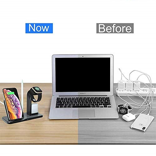 MobiLooks® 4 in 1 Universal Silicone Pencil or Pen Stand/iWatch/iPhone/Airpods Holder Charging Docks Station for iWatch Series 4 3 2 1, iPhone Mobile Phone (Black)