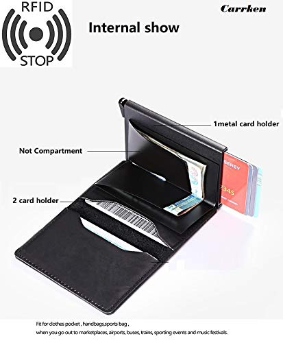 Carrken® RFID Blocking Business Credit / Debit Card Holder Automatic Pop Up Aluminum Leather Wallet (CZ078)