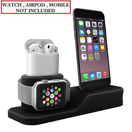 MobiLooks® for Apple Watch Stand, 3 in 1 Universal Silicone iWatch/iPhone/Airpods Holder Charging Docks Station for iWatch Series 5 4 3 2 1, All iPhone Mobile Phone (Black)