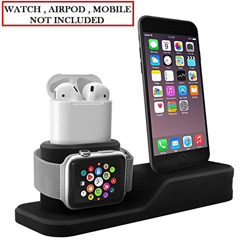 Apple Watch Stand, 3 in 1 Universal Silicone iWatch/iPhone/Airpods Holder Charging Docks Station for iWatch Series 4 3 2 1, All iPhone Mobile Phone (Black)