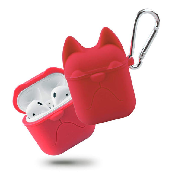 Apple AirPods Case Cartoon Bulldog Silicone Case Cover Keychain (RED)
