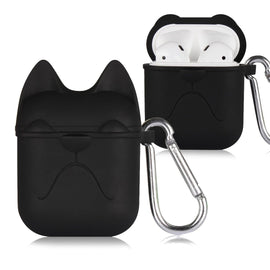 Apple AirPods Case Cartoon Bulldog Silicone Case Cover Keychain (Black)