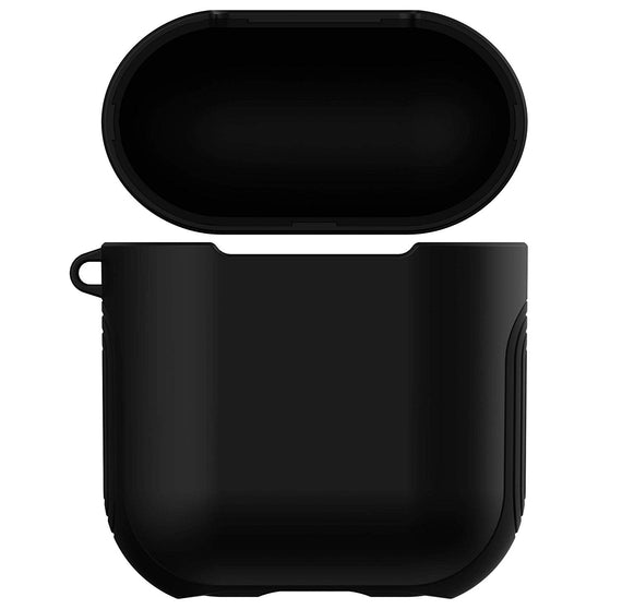 Apple Airpods Case Cover, Matte Finish 2 in 1 Protective Cover Shockproof Design (black)