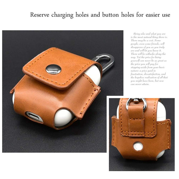 Apple AirPods Case Leather Pouch with Copper Clasp Ring  Brown