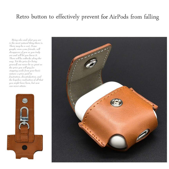 MobiLooks® for Apple AirPods Case Leather Pouch with Copper Clasp Ring  Brown