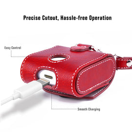 Apple AirPods Case Snap Closure Leather Protective Cover with Holding Strap (Red)