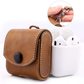 MobiLooks® for Apple AirPods 1 & 2 Case Snap Closure Leather Protective Cover with Holding Strap (Brown)