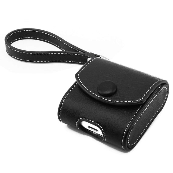 Apple AirPods Case Snap Closure Leather Protective Cover with Holding Strap  (Black)