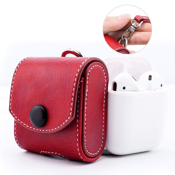 MobiLooks® for Apple AirPods 1 & 2 Case Snap Closure Leather Protective Cover with Holding Strap (Red)
