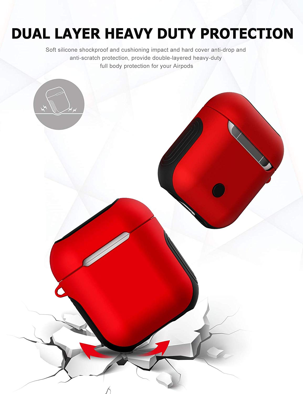 49af3b77bcc Apple Airpods Case Cover, Matte Finish 2 in 1 Protective Cover Shockproof  Design (RED)