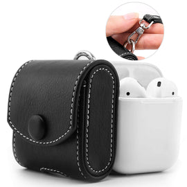 MobiLooks® for Apple AirPods 1 & 2 Case Snap Closure Leather Protective Cover with Holding Strap  (Black)