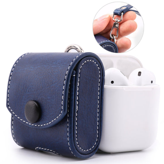 MobiLooks® for Apple AirPods 1 & 2 Case Snap Closure Leather Protective Cover with Holding Strap  (Blue)