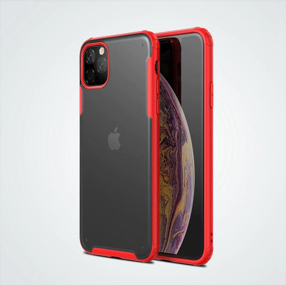 LiKGUS for iPhone 12 Mini (5.4 inch), Matte Semi Transparent Shockproof Anti Slip Case Cover with Camera and Screen Protection Back Case Cover (RED)