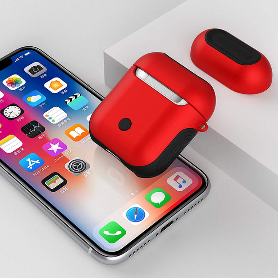 Apple Airpods Case Cover, Matte Finish 2 in 1 Protective Cover Shockproof Design (RED)