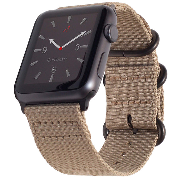 MobiLooks® for Apple Watch Band Loop Nylon NATO Matte Buckle Adapters Sport Series (5 / 4 / 3 / 2 / 1) (42mm , 44mm) Grey