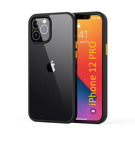 LiKGUS for iPhone 12 Pro (6.1 inch), Shock Proof Smooth Rubberized Crystal Clear Transparent Hard Back Case Cover (BLACK)