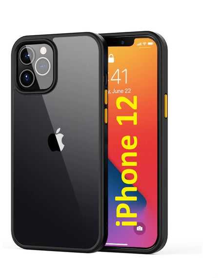 LiKGUS for iPhone 12 (6.1 inch), Shock Proof Smooth Rubberized Crystal Clear Transparent Hard Back Case Cover (BLACK)