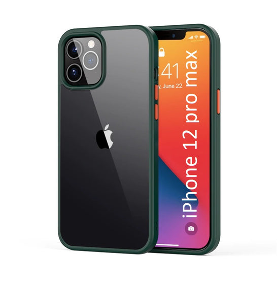 LiKGUS for iPhone 12 Pro Max (6.7 inch), Shock Proof Smooth Rubberized Crystal Clear Transparent Hard Back Case Cover (Dark Green)