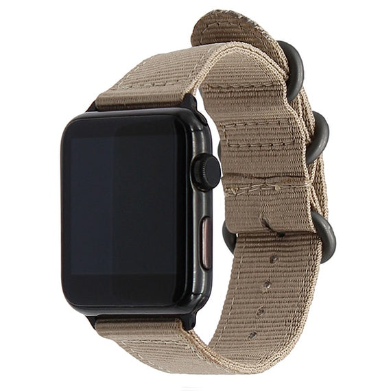 Apple Watch Band Women Men Nylon NATO Matte Buckle Adapters Sport Series (4 3 2 1) (42mm , 44mm) GREY