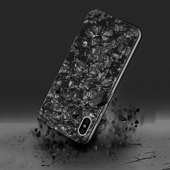 Apple Iphone Xs Max Marbel Series Glass Back Case (Black)