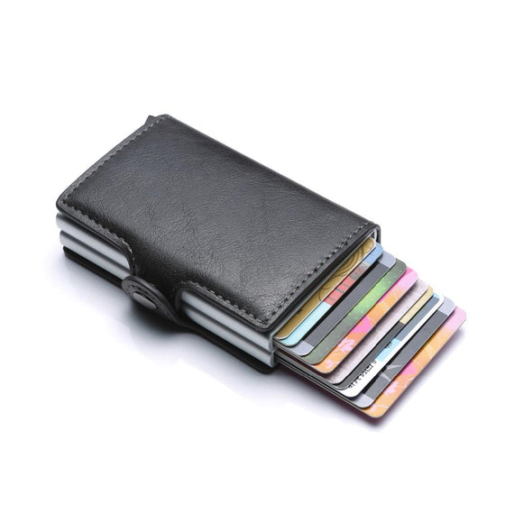 CarrKen RFID Blocking Business Credit / Debit Card Holder Automatic Pop Up Aluminum 2 Box Leather Wallet (FM910)