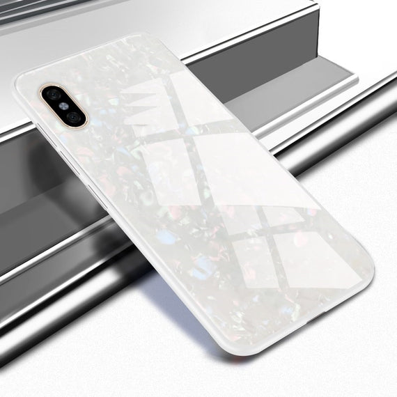 MobiLooks® for Apple Iphone Xs Max Marbel Series Glass Back Case WHITE