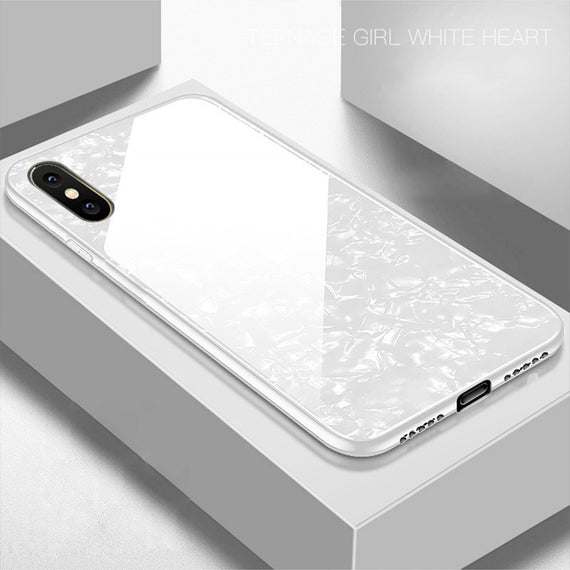 Apple Iphone Xs Max Marbel Series Glass Back Case WHITE