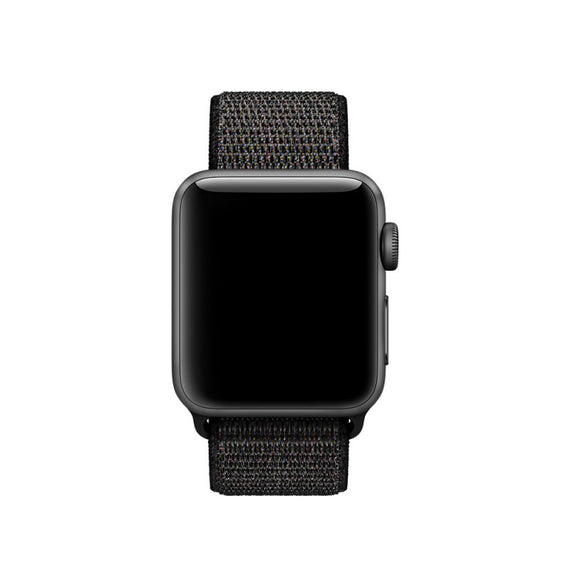MobiLooks® for Apple Watch Nylon Loop Band Sport Strap (42mm 44mm Series 5 / 4 / 3 / 2 / 1) Copper Black