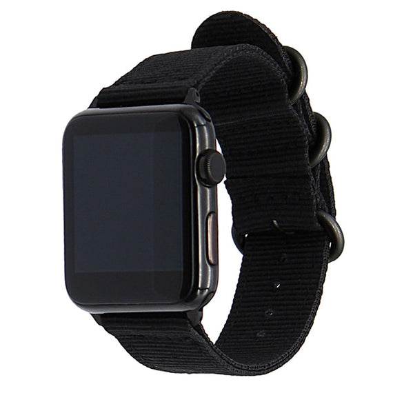 MobiLooks® for Apple Watch Band Loop Nylon NATO Matte Buckle Adapters Sport Series (5 / 4 / 3 / 2 / 1) (42mm , 44mm) Black