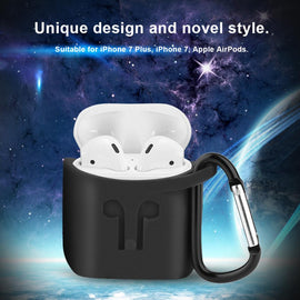 Apple AirPods Case Silicone Shock Proof Protection Sleeve Cover with Clip (Black)