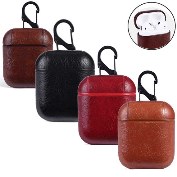 MobiLooks® for Apple AirPods 1 & 2 Case Vintage Matte Leather Hook Cover  Luxury Protective  (RED)