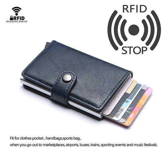 Carrken® RFID Blocking Business Credit / Debit Card Holder Automatic Pop Up Aluminum Leather Wallet (FL30)