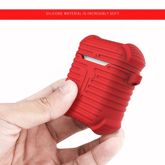 Apple AirPods Case i-Smile Shockproof Rugged Edition Silicone Cover (RED)