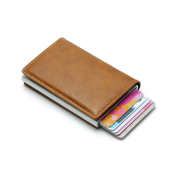 Carrken® RFID Blocking Business Credit / Debit Card Holder Automatic Pop Up Aluminum Leather Wallet (FL20)