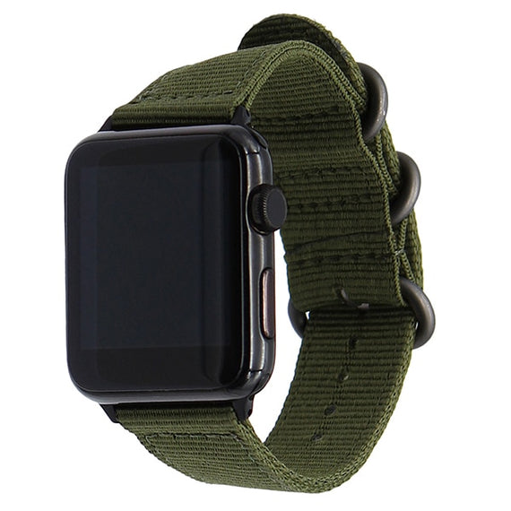 MobiLooks® for Apple Watch Band Loop Nylon NATO Matte Buckle Adapters Sport Series (5 / 4 / 3 / 2 / 1) (42mm , 44mm) Army Green