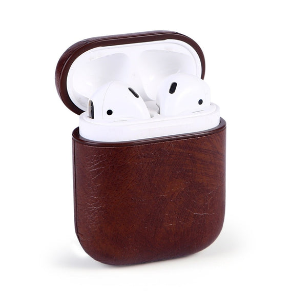 MobiLooks® for Apple AirPods 1 & 2 Case Vintage Matte Leather Hook Cover  Luxury Protective  (Dark Brown)