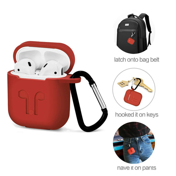 Apple AirPods Case Silicone Shock Proof Protection Sleeve Cover with Clip (RED)