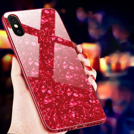 LiKGUS for Apple Iphone Xs Max Marbel Series Glass Back Case RED