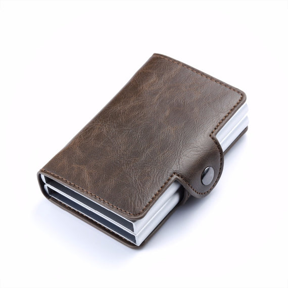 Carrken® RFID Blocking Business Credit / Debit Card Holder Automatic Pop Up Aluminum 2 Box Leather Wallet (FM910)