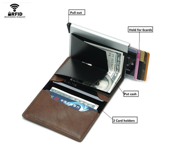 CarrKen RFID Blocking Business Credit / Debit Card Holder Automatic Pop Up Aluminum Leather Wallet (FL20)