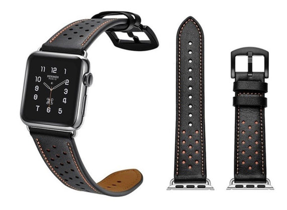 LiKGUS for Apple Watch band Genuine Leather Strap (42mm 44mm Series 5 / 4 / 3 / 2 / 1) Red Dot Black