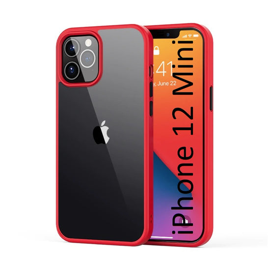 LiKGUS for iPhone 12 Mini (5.4 inch), Shock Proof Smooth Rubberized Crystal Clear Transparent Hard Back Case Cover (RED)