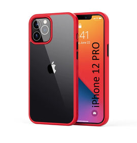 LiKGUS for iPhone 12 Pro (6.1 inch), Shock Proof Smooth Rubberized Crystal Clear Transparent Hard Back Case Cover (RED)