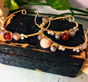 Set of 3 Carnelian And Coral Cuffs