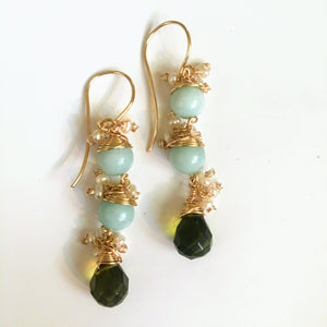 Amazonite and Peridot Earrings with Pearl Accents