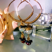 Gold Hoops with Jade and Carnelian