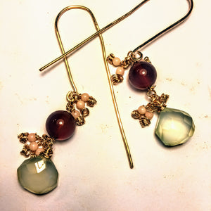 Green Chalcedony, Coral, and Carnelian Earrings